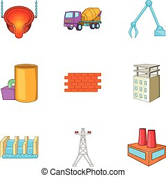 Metallurgical plant icons set, cartoon style