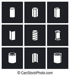 Metallurgical products Vector Icons