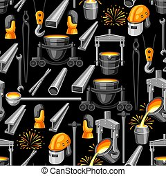 Metallurgical seamless pattern. Industrial items and...