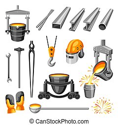 Metallurgical symbols set. Industrial items and equipment.