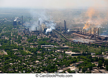 Metallurgical works. Aerial view.