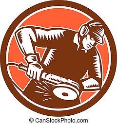 metallurgico, funzionante, macinatore, woodcut, cerchio, retro