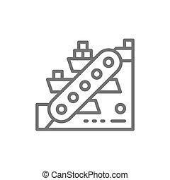 Metallurgy conveyor, mining industry line icon.