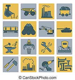 Metallurgy icon set. Colour version design. Vector...