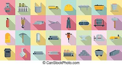Metallurgy icons set, flat style