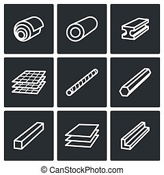 Metallurgy products icons collection - Metal industry icon...