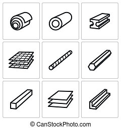 Metallurgy products icons set - Metal industry icon...