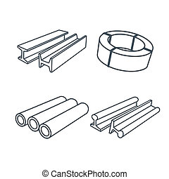 Metallurgy products icons set