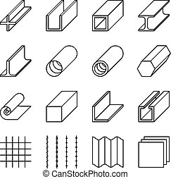Metallurgy products line vector icons. Metall industry, iron...