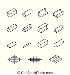 Metallurgy products vector icon set in thin line style