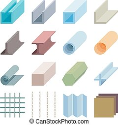 Metallurgy products vector icons. Isometric 3d elements