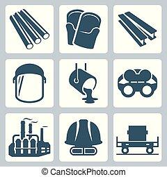 Metallurgy related vector icon set