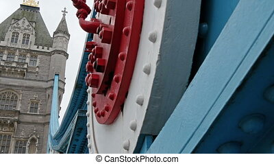 Metals and big screw on the side of the bridge