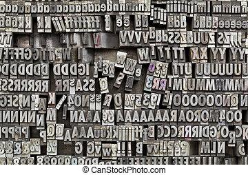 metaltype, texto impreso, imprimir bloquea