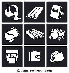 metalurgia, indústria, jogo, ícones