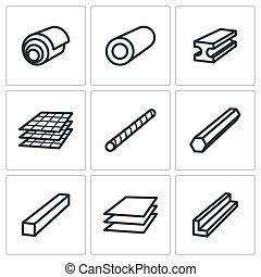 metalurgia, jogo, produtos, ícones