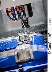 Metalworking CNC milling machine. Cutting metal modern...