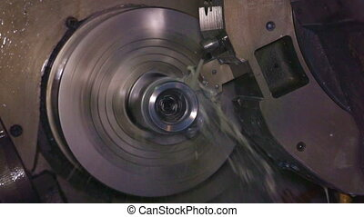 Metalworking milling machine. Cutting metal modern processing technology.