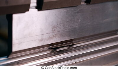 Metalworking. View of work bending machine, close-up