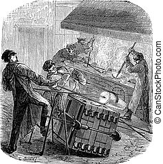 Metalworking, showing men pouring liquid metal into their molds, vintage engraved illustration. Industrial Encyclopedia - E.O. Lami - 1875
