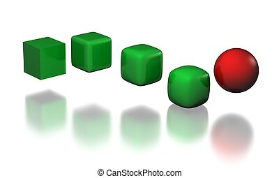 metamorphose - five stages of cube to sphere trqansformation