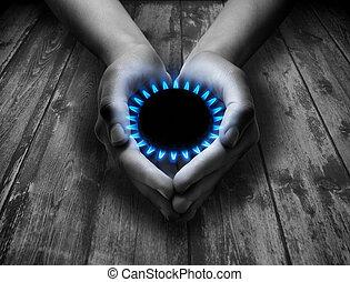 metano, seu, mãos
