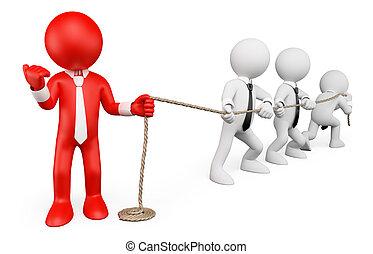 metaphor., ビジネス, 人々。, リーダーシップ, 白, 強い, 3d