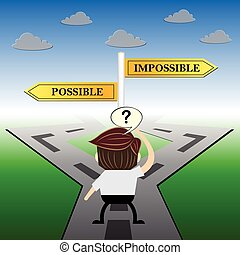 metaphor humour design , impossible and possible choice road sign concept,