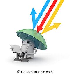 metaphor., -, ilustração, proteção, sob, dados, 3d