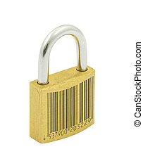 secured by code - metaphor of secured by code, barcode is...