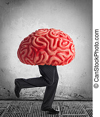 Metaphor of the brain drain. Rubber brain legs while...