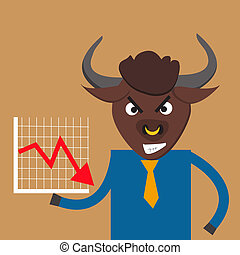metaphore, homme affaires, tête, fort, taureau