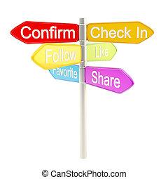 metaphore, média, responsabilité, poteau indicateur, social