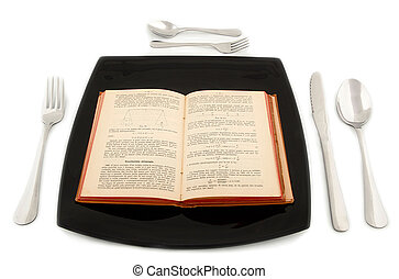 Metaphoric concept with physics book in the plate with cutlery on white table.