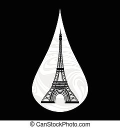 Metaphoric illustration of France, Paris on the background,...