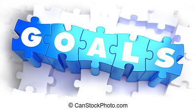 metas, -, blanco, palabra, en, azul, puzzles.