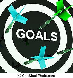 metas, en, blanco, exposiciones, aspiraciones