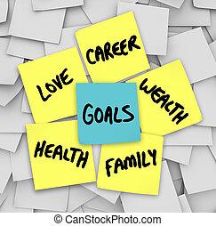 metas, en, notas pegajosas, salud, riqueza, carrera, amor
