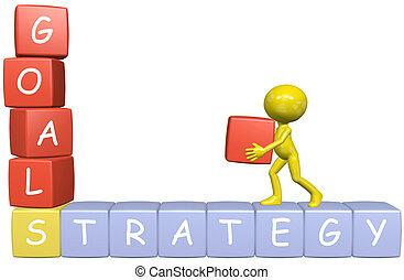 metas, estrategia, 3d, caricatura, hombre, construye, empresa / negocio