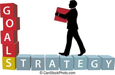 metas, estrategia, hombre, construye, empresa / negocio, bloques
