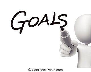 metas, palavra, escrito, por, 3d, homem