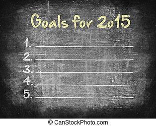 metas, para, 2015, conceito, ligado, blackboard.