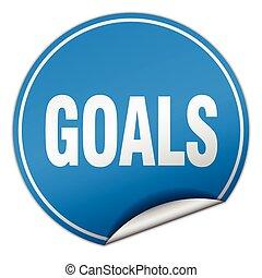 metas, redondo, azul, adesivo, isolado, branco