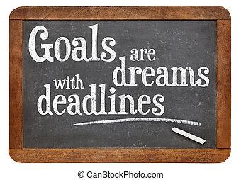 metas, ser, sueños, con, fechas topes