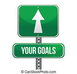 metas, verde, su, muestra del camino