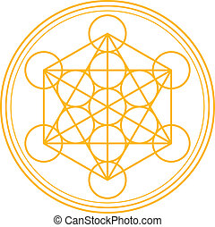 Metatron Cube Gold - Metatrons Cube and Merkaba derived from...