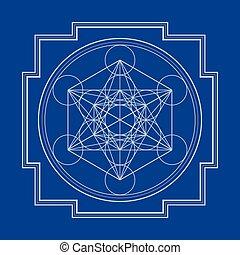 metatron, illustration, cube, monocrome, contour, yantra