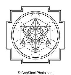 metatron, ilustración, cubo, monocrome, contorno, yantra