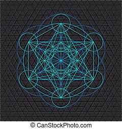 metatron, vida, semente, esboço, sagrado, geometria