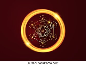 Metatrons Cube, Flower of Life. Golden Sacred geometry in ...